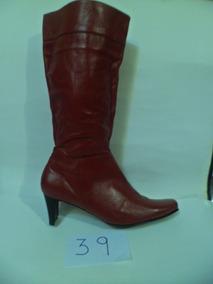 Botas De Dama Cuero Colombiano Rojo Corte Alto #39