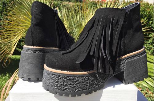botas de gamuza con flecos plataforma nueva temporada oferta