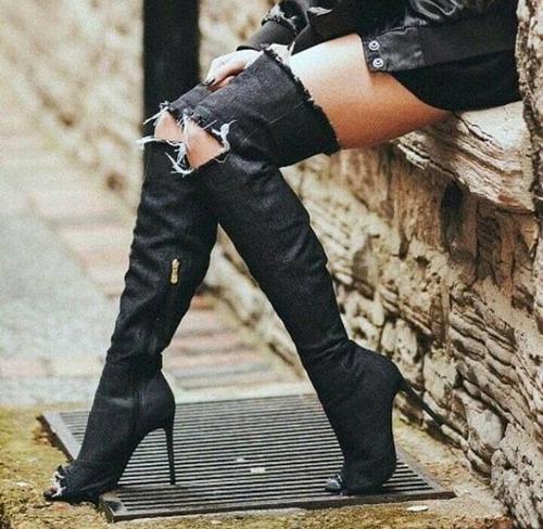botas de jeans mas arriba de la rodilla para damas