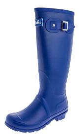 Botas De Lluvia Altas Mujer Wellington Bottplie Azul Matte