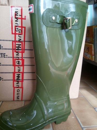 botas de lluvia gummi wellington altas hebilla mujer verdes