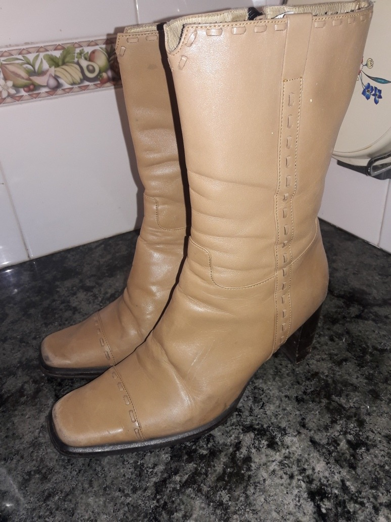 3a2d2690a botas de media caña de cuero en camel. Cargando zoom.