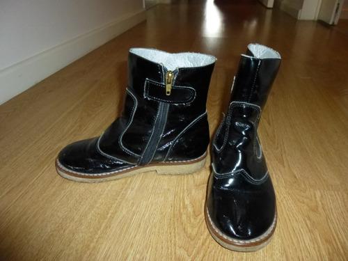 botas de niñas talle 32 maria reyna charol negro