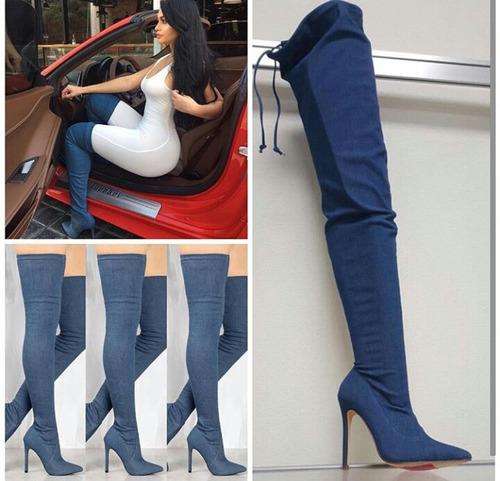 botas extra larga mas arriba de la rodilla de damas