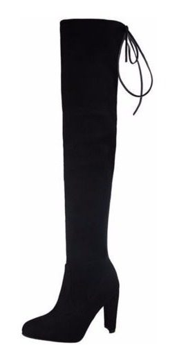 Botas Fashion Negras Largas Tacon Mujer Winter Autumn Slip