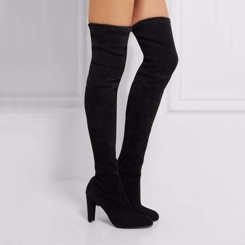 Botas Fashion Negras Largas Tacon Mujer Winter Autumn Slip ...