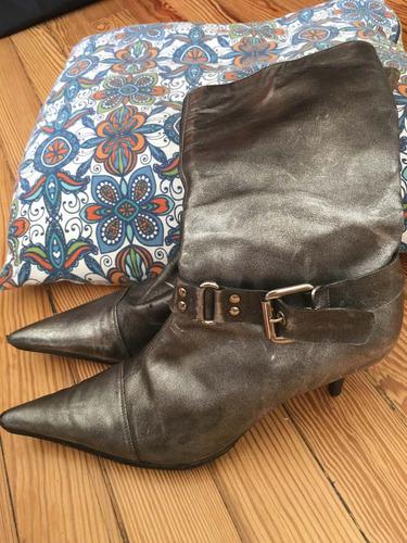 botas grises si mi reina con taco de 6 1/2 cm 39