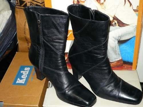botas lady stork cuero negro nª39 modelo berna 1/2 caña