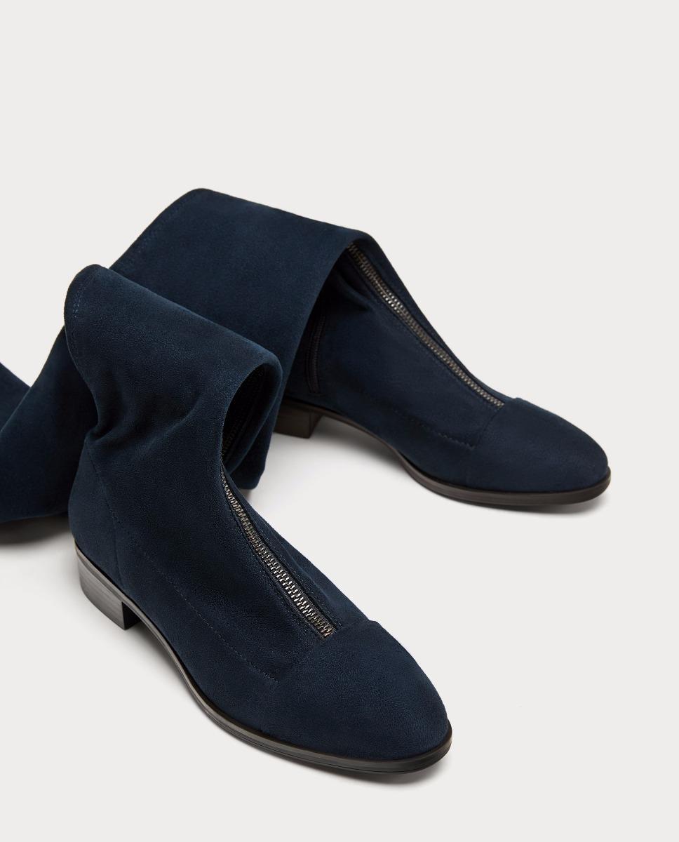 Botas Largas Xl Planas Azul Importado Zara New