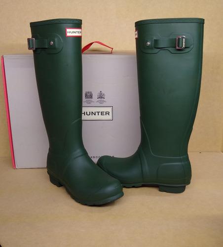botas lluvia hunter largas verde mujer originales oferta