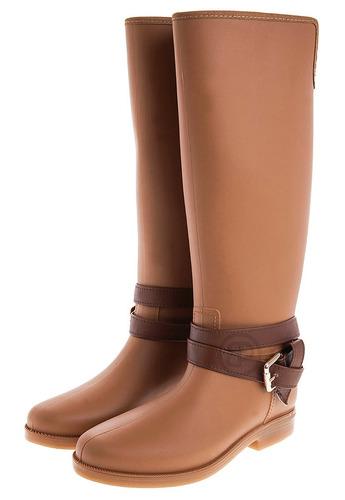 botas lluvia impermeable mujer golden buckle bottplie - miel