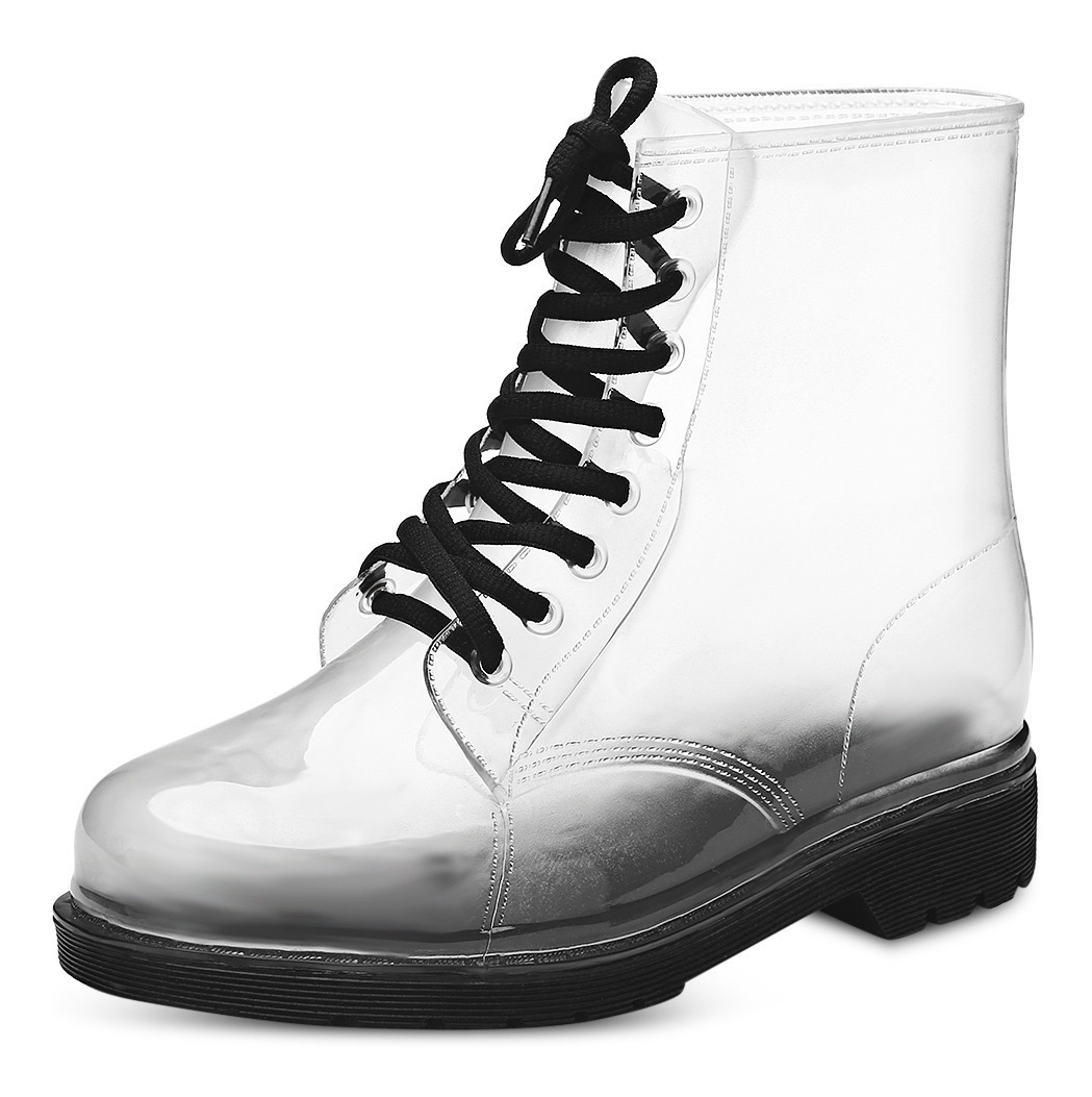 47ccd551c Botas Lluvia Mujeres Moda Lace-up Impermeable