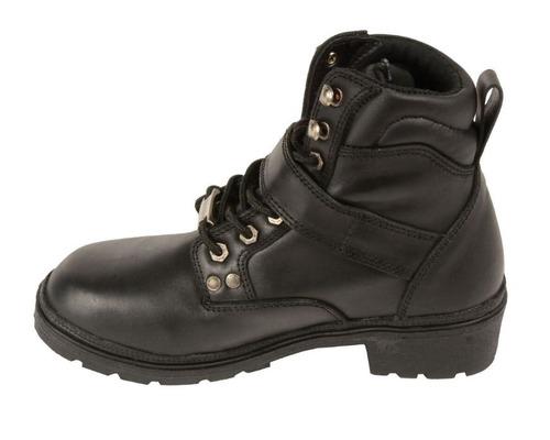 botas milwaukee para mujer de cuero hebilla lateral negra 10
