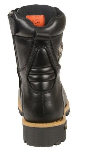 botas milwaukee p/hombre cuero c/agujetas c/zíper negro 7.5