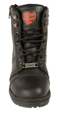 botas milwaukee p/mujer cuero c/agujetas y costura neg 10.5