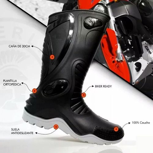 botas motociclistas caucho 100% impermeables lluvia