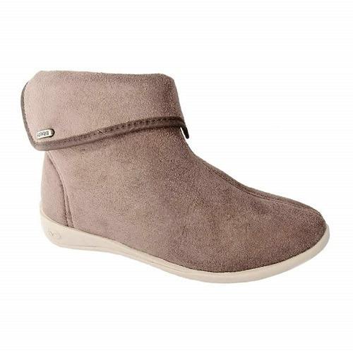 botas mujer dama - gowell gamuzadas con cierre negra y beige