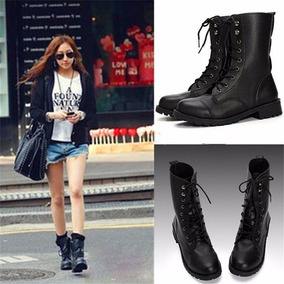 Botas Mujer Negras Punk Cool Militar Knight Army Lace up Sho