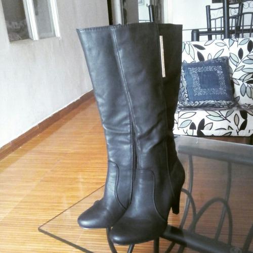 botas negras de cuero sintético de oferta!!!