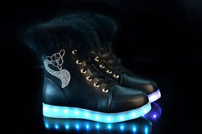botas negras fashion mujer led luminosas luces casual color