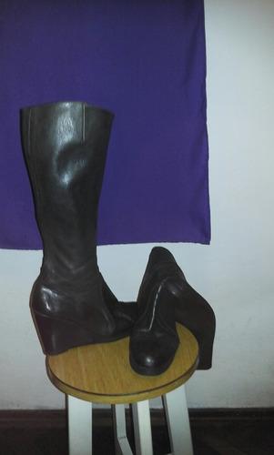 botas negras,de cuero, 38,industria uruguaya!
