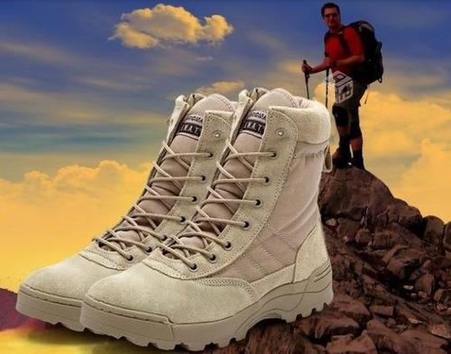 botas original swatt negras y ocre trekking / airsoft