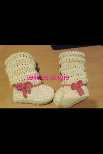 botas para bebés 100% tejido a mano