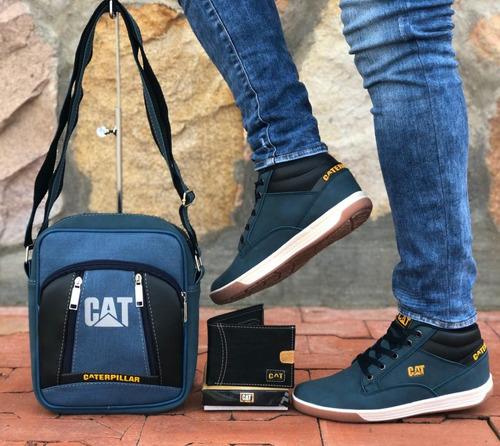 botas para caballero + bolso + billetera + envío gratis