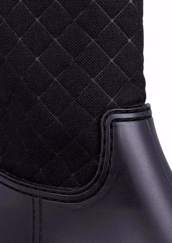 botas para lluvia andrea negras diseño acolchado 2558 sh+