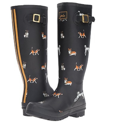 botas para lluvia de dama joules negras con perritos 26