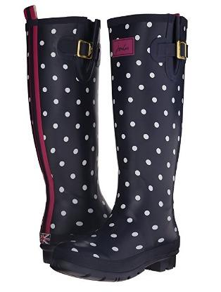 botas para lluvia de dama joules puntos azul y blanco 25