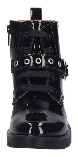 botas para niña con hebilla y cordones ct9852 - negro charol