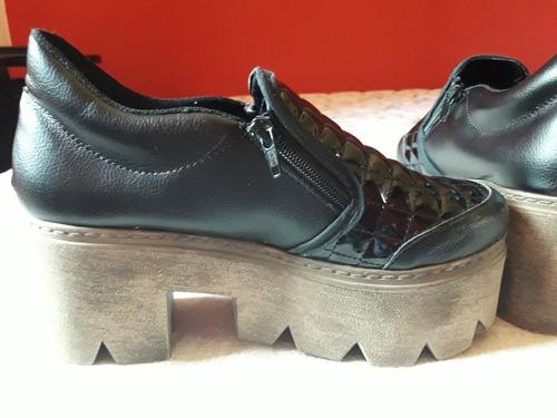 botas plataforma zapatos botineta base madera tractor livian