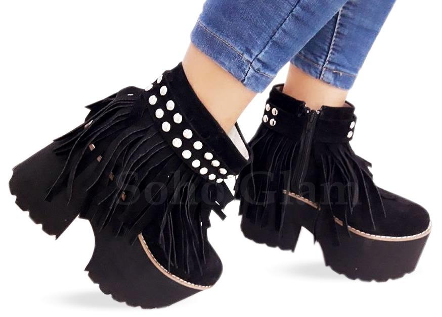 2eb6f8a66c7b5 botas plataformas mujer botinetas con flecos otoño invierno. Cargando zoom.