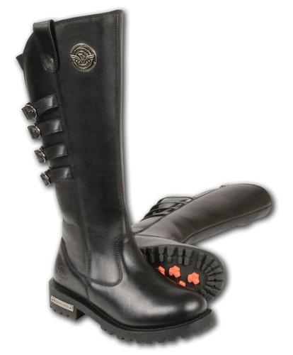 botas p/montar milwaukee damas cuero altas c/hebillas negr 8
