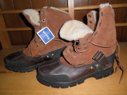 botas polo by ralph lauren - piel, gamuza y forro de lana