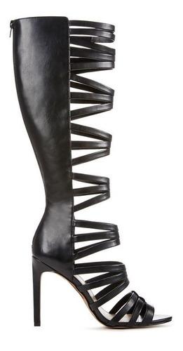 botas sandalias taco gladiador romana negro 6.5 36 37 pedido