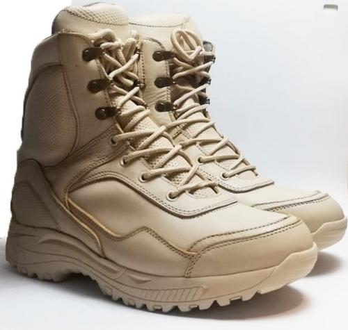 botas tácticas beige para outdoor, trekking. 100% cuero.