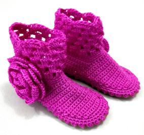 Botas Tejidas Para Niñas Zapatos Tejidos A Crochet