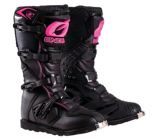 botas todoterreno o'neal rider juveniles negro/rosa 4 usa