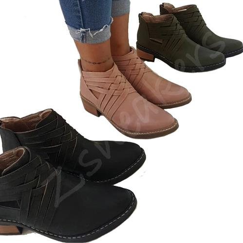 botas trenza botitas mujer taco bajo otoño invierno 2018