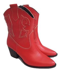 buscar original disfruta del precio de descuento zapatillas de deporte para baratas Botas Vaqueras Texanas Cuero Vacuno Rojo