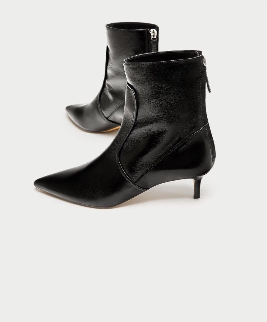 17132ebe32fb botas zara black leather pointed toe kitten heel ankle boots. Cargando zoom.