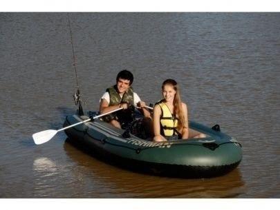 bote barco inflável fishman 350 mor inflador + remos pesca