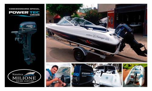 bote chinchorro y motor power tec 2,2 hp  nautica milione
