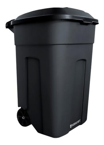 bote contenedor de basura negro con ruedas tapa giratoria