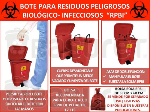 bote de basura con tapa de pedal rojo p/ residuos rpbi 17lt