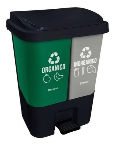 bote de basura ecologico para reciclaje doble con pedal 17lt