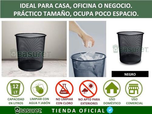 bote de basura metalico cesto de malla color negro 12 lts