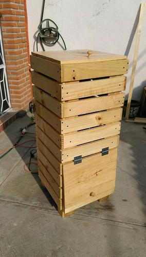 bote de madera p/ composta  120 x50x50 con malla